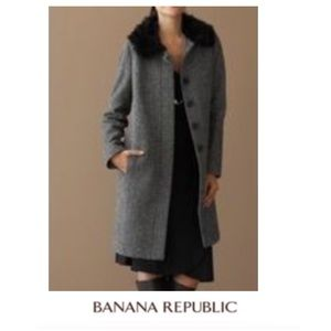 Banana Republic Chevron Fur Collar Coat